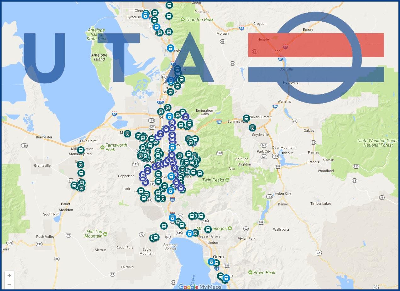 UTA Park and Ride Lots Daybreak Utah Map on