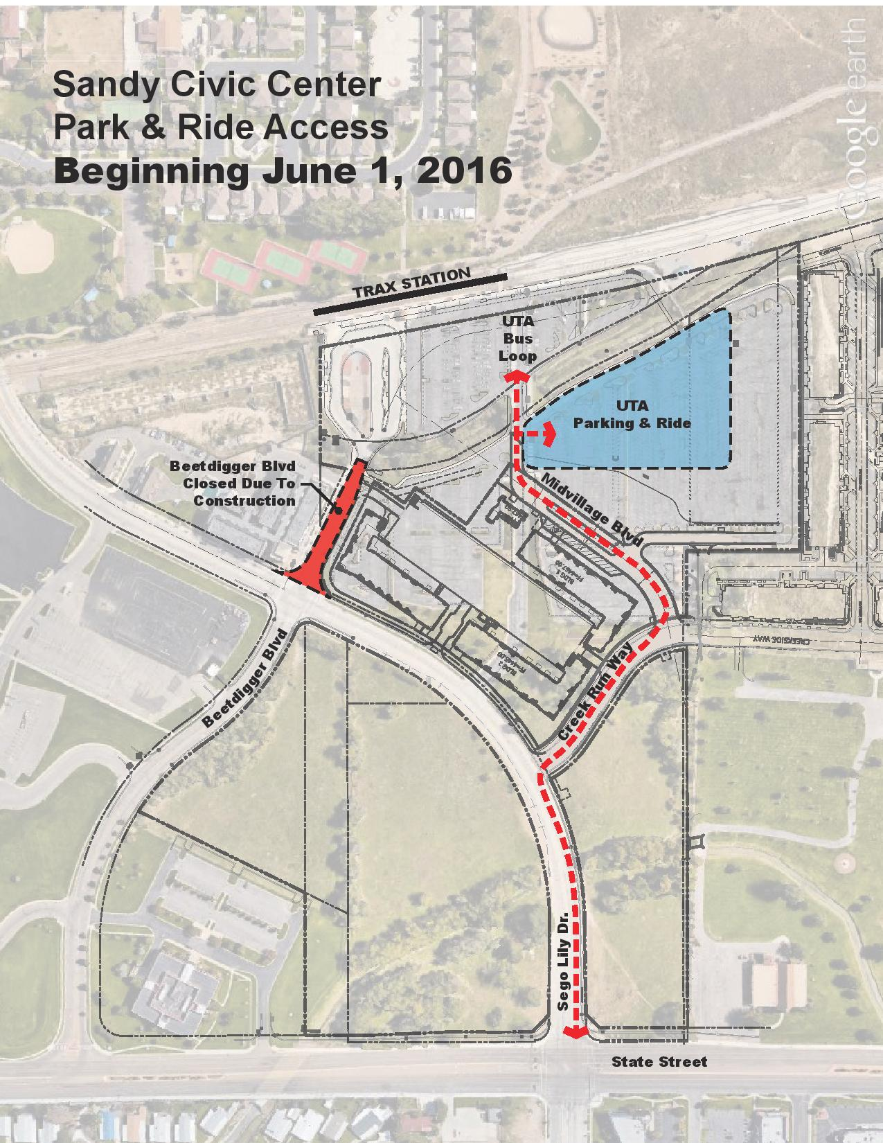 Riders who use the Park   Ride lot at the Sandy Civic TRAX Station should  note that the parking configuration will change starting June 1. Parking Changes at Sandy Civic Center TRAX Station