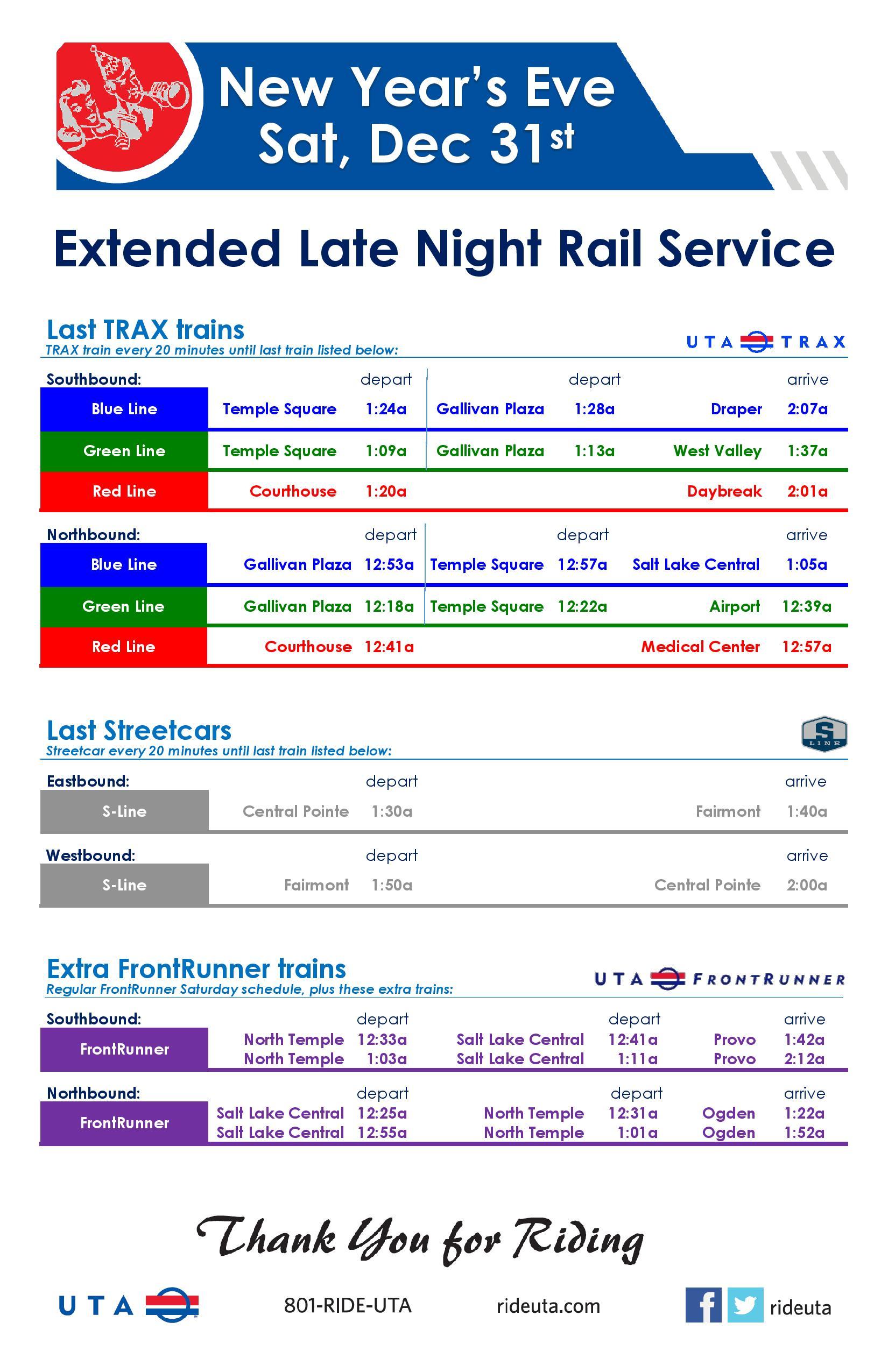 Dec 31 to Jan 2 Service Schedule