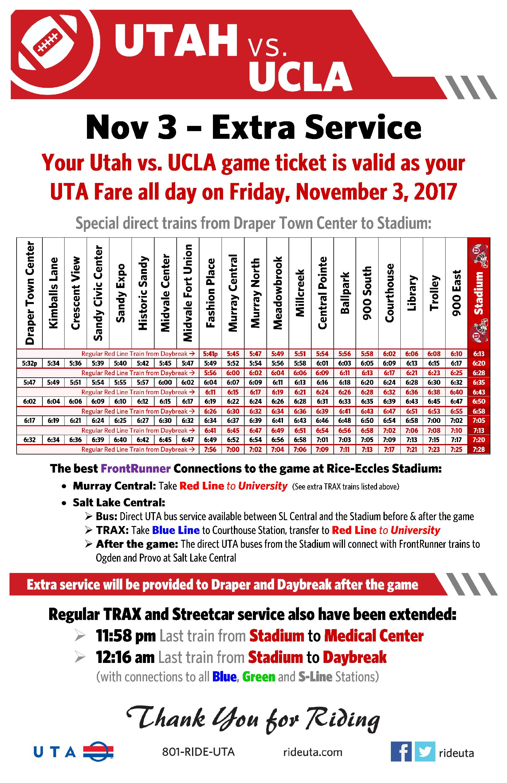 extra rail service after utah game
