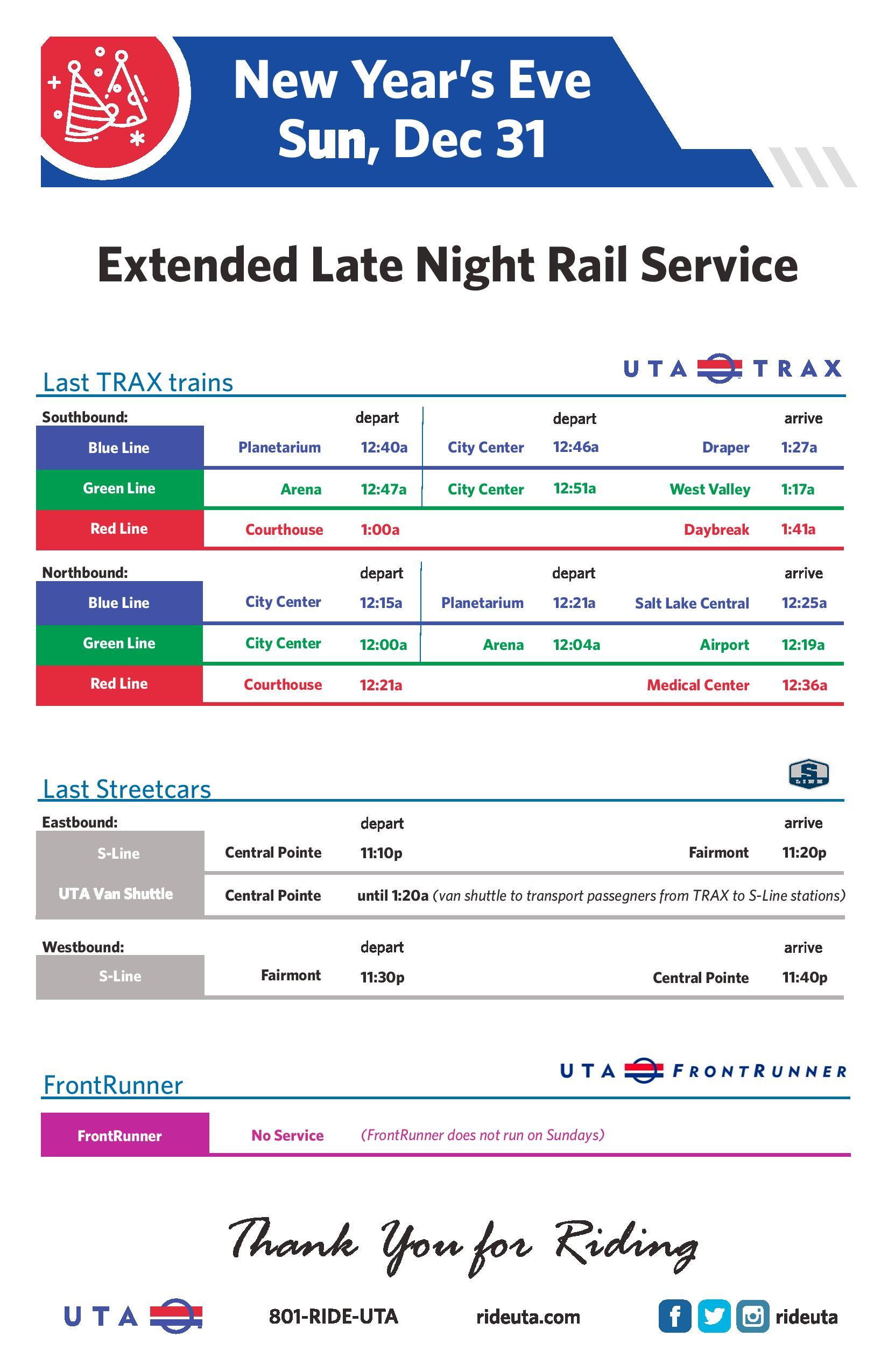 UTA Holiday Service Schedule