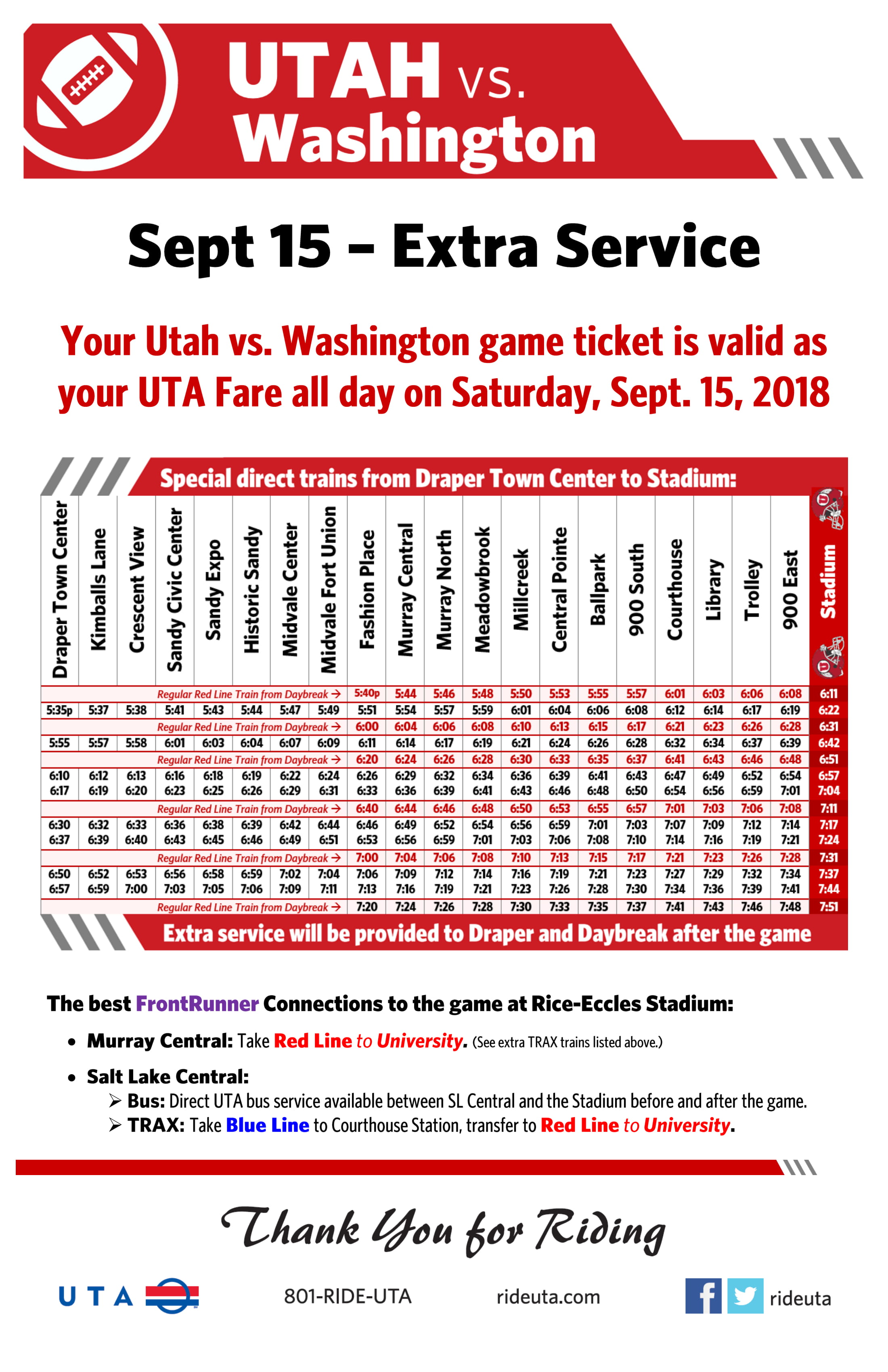 extra service to university of utah football