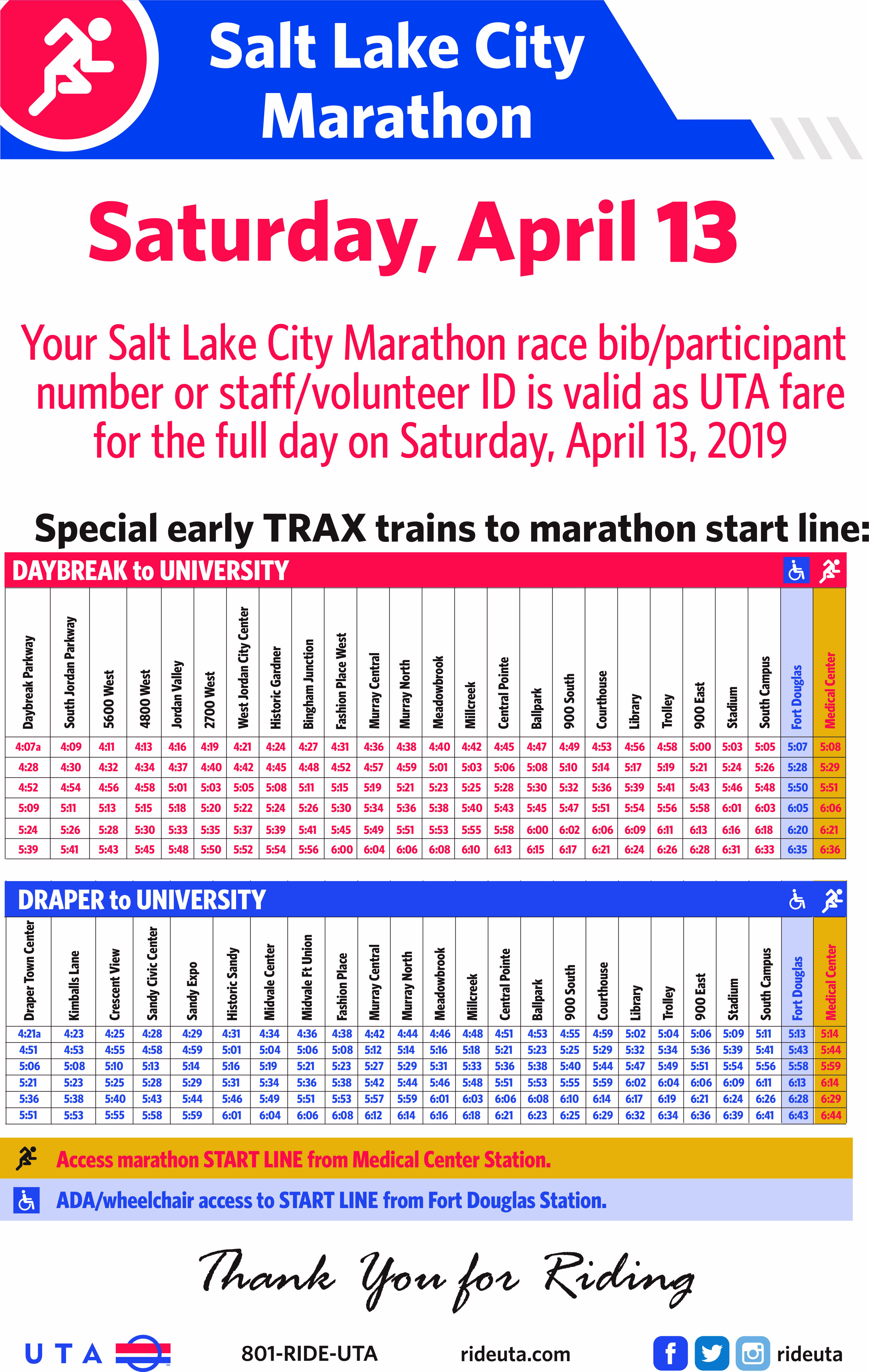 UTA Offers Early Service to SLC Marathon
