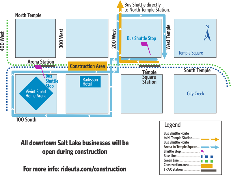 UTA Arena and Temple Square Construction Map 2019